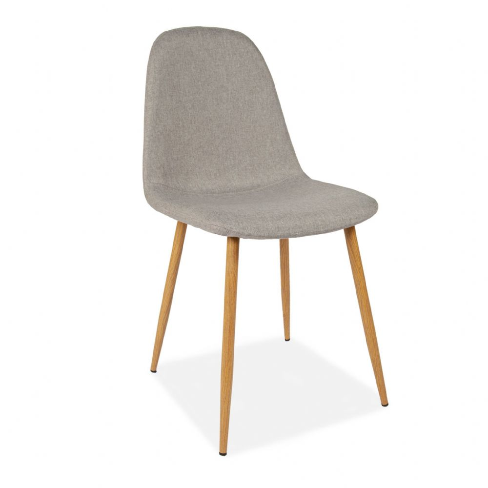 x4 Mmilo Upholstered Eiffel Dining Chair Beech Effect - Light Grey Fabric